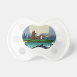 Cute Bear and Fox kayaking on a wild forest river Dummy