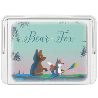 Cute Bear & Fox skiing in snow & kayaking on river Chilly Bin