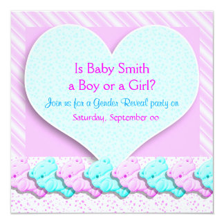 Cute bear heart gender reveal party card