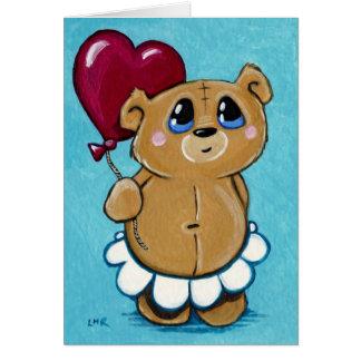 Cute Bear Holding Heart Balloon Valentine Card