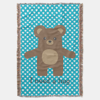 Cute Bear Hug Throw Blanket