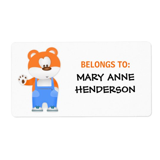 Cute Bear in Overalls Kid's Custom Name ID Shipping Label