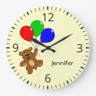 Cute bear with balloons cartoon name wall clock