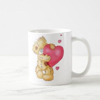 Cute Bear with Hearts Basic White Mug
