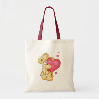Cute Bear with Hearts Budget Tote Bag