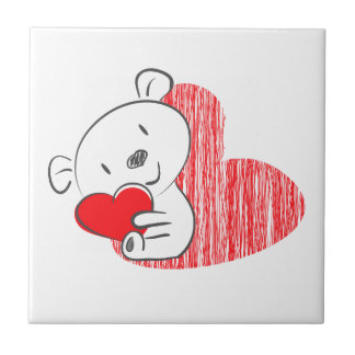 Cute Bear with red Heart Ceramic Tile