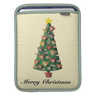Cute Bears on Christmas Tree Sleeves For iPads