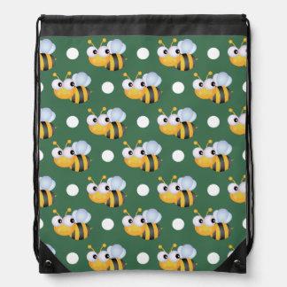 Cute Bee, Green & White Polka Dots Drawstring Bag