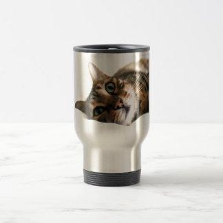 Cute Bengal Cat in Bed Picture Travel Mug