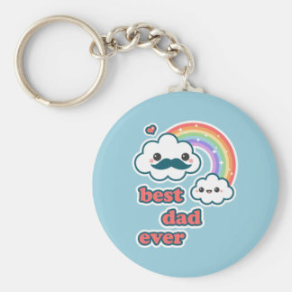 Cute Best Cloud Dad Basic Round Button Key Ring