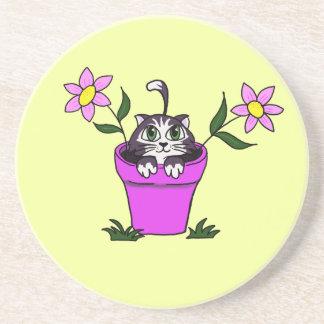 Cute Big Eyed Cartoon Cat in Flower Pot Beverage Coaster