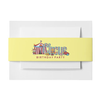 Cute Big Top Circus Invitation Belly Band