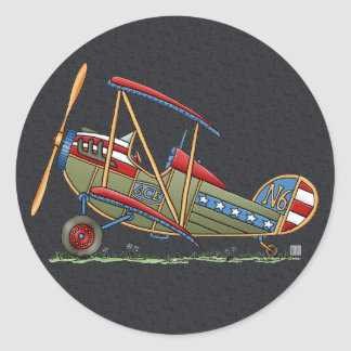 Cute Biplane Classic Round Sticker