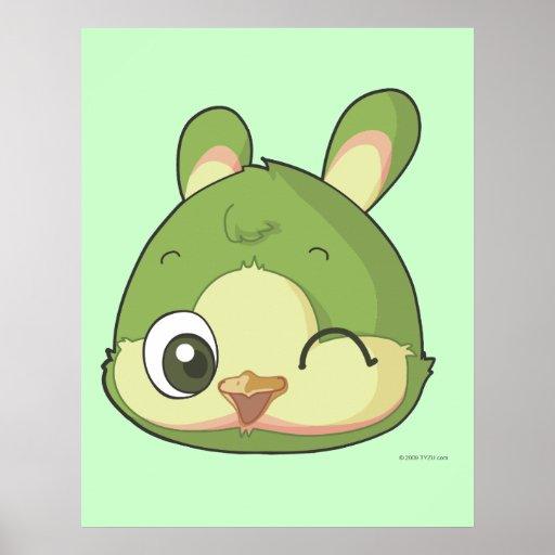 Cute bird funny anime cartoon character poster