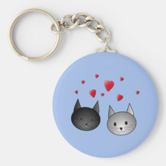 Cute Black and Gray Cats, with Hearts. Basic Round Button Key Ring