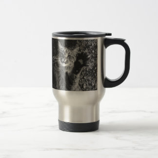 Cute Black and White Cat Hug Stainless Steel Travel Mug