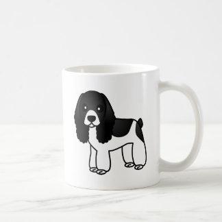 Cute Black and White Cocker Spaniel Cartoon Basic White Mug