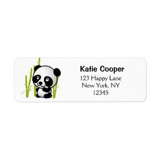 Cute black and white panda bear in a bamboo grove return address label