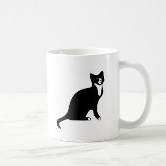 Cute Black and White Snowshoe Cat Basic White Mug