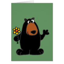 Cute Black Bear with Daffodil Cartoon Greeting Card