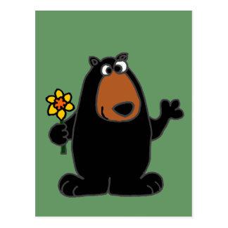 Cute Black Bear with Daffodil Cartoon Postcard