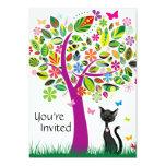 Cute Black Cat and Flower Tree Birthday Invitation