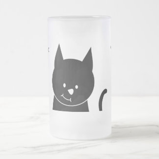 Cute Black Cat Frosted Glass Beer Mug