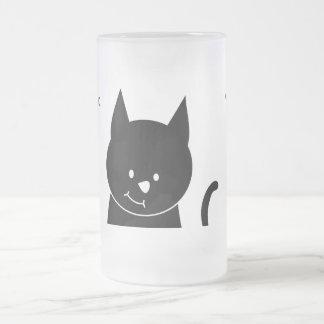 Cute Black Cat Frosted Glass Mug