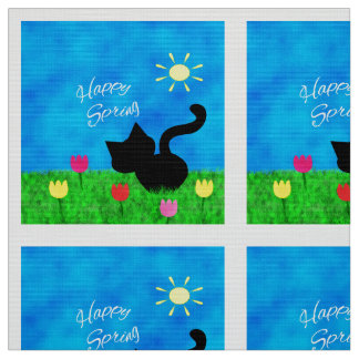 Cute Black Cat Happy Spring Theme Fabric 2