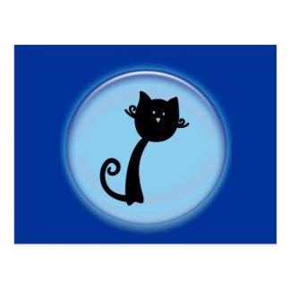 Cute Black cat in Blue 3D design Postcard