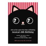 Cute Black Cat Kitty Face Kids Birthday Invitation