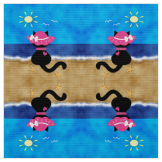 Cute Black Cat Pink Bonnet Summer Beach Fabric D2