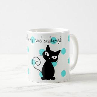 Cute Black Cat,Polka Dots-Wake up and makeup! Coffee Mug