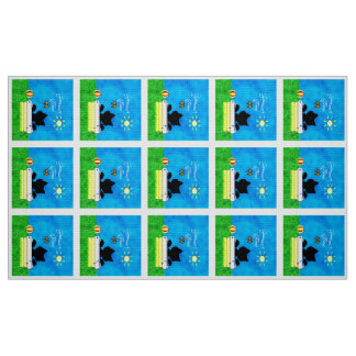 Cute Black Cat Summer Pool Theme Fabric
