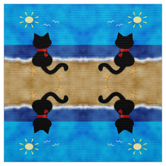 Cute Black Cat Summertime Beach Theme Fabric D2
