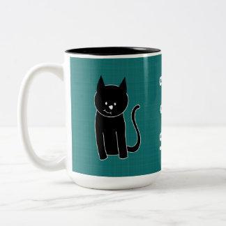 Cute Black Cat Two-Tone Mug