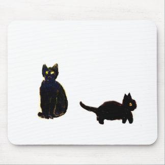 Cute Black Cats Art Mouse Pad