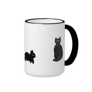 Cute Black Cats Ringer Mug