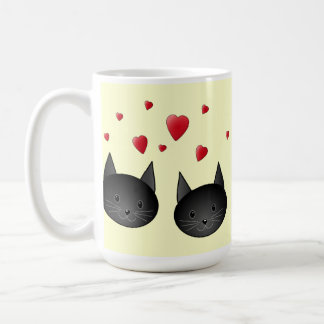 Cute Black Cats with Hearts, on cream. Coffee Mug