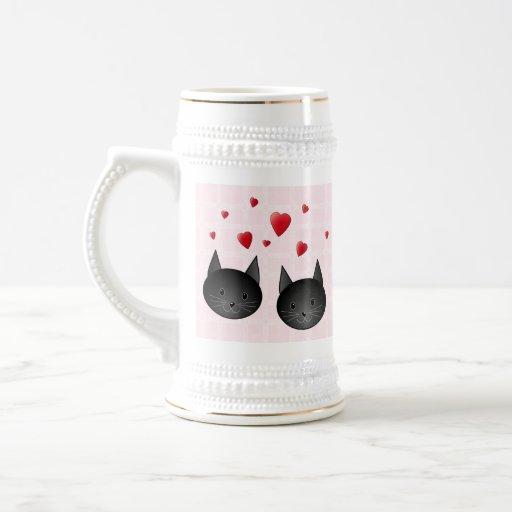 Cute Black Cats with Hearts, on pale pink. Custom Coffee Mug