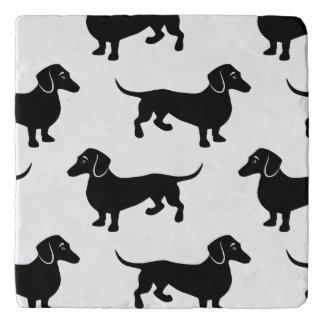 Cute Black Dachshund Pattern Trivet