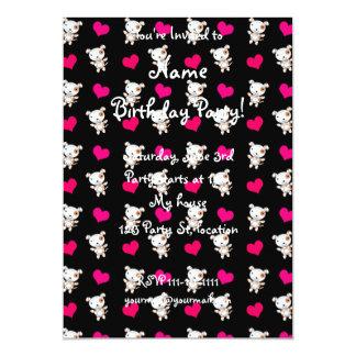 Cute black dog hearts pattern 5x7 paper invitation card