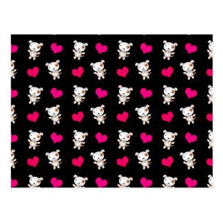 Cute black dog hearts pattern postcard