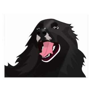 Cute Black Dog With its tongue out - Vector Art Postcard