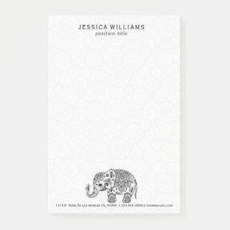 Cute Black Floral Paisley Elephant Illustration Post-it® Notes