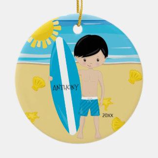 Cute Black Hair Surfer Boy Personalized Christmas Christmas Ornament