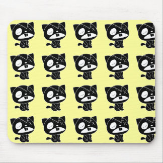 Cute Black Kitty Cat Zombie Mouse Pads
