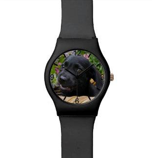Cute Black Labrador Retriever Dog Puppy dial-plate Watch