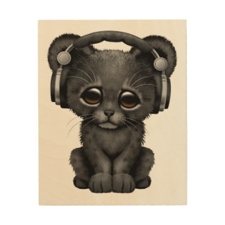Cute Black Panther Cub Dj Wearing Headphones Wood Wall Decor