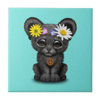 Cute Black Panther Cub Hippie Tile